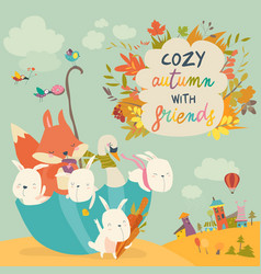 happy animals sitting in umbrella in autumn park vector image