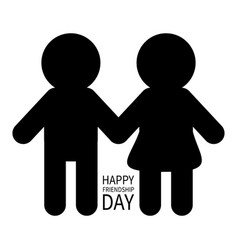 Happy friendship day two black man male woman vector