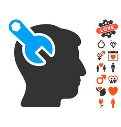 head neurology wrench icon with lovely bonus vector image
