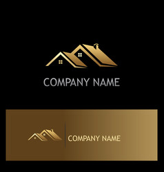 House roof gold company logo vector