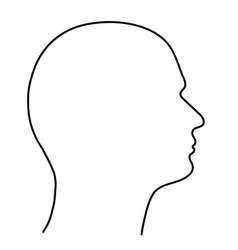human head of a man the outline of black lines on vector image