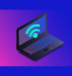 isometric laptop with free internet wifi vector image