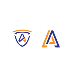 Letter a logo designs with a and shield icon vector