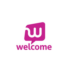 letter w bubble chat welcome icon logo vector image