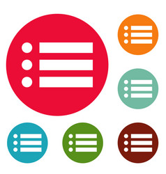 list icons circle set vector image