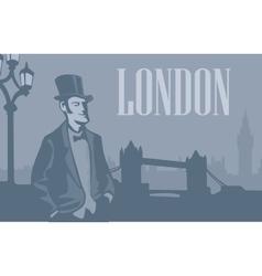 London gentleman in hat on london street vector