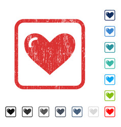 Love heart icon rubber watermark vector