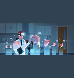 Male doctor wearing digital glasses looking vector