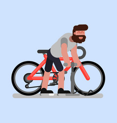 man pumps the wheel of his bike vector image