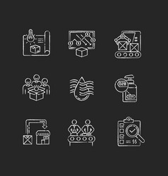Manufacturing process chalk white icons set vector