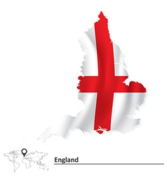 Map of England with flag vector image