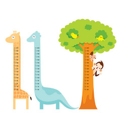 Measured height set with giraffe dinosaur bird vector