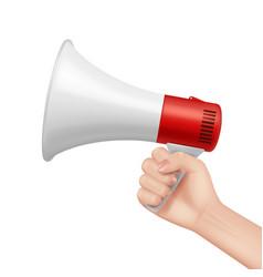 Megaphone in hand lifeguard talking in loud vector