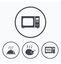 Microwave oven icon Cooking food serving vector image