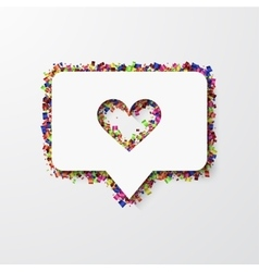 Modern heart with confetti on white vector