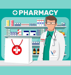 modern interior pharmacy and male pharmacist vector image