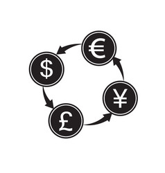 Money convert icon euro dollar flat design style vector