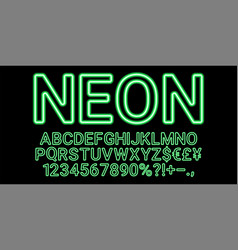neon font in green color vector image