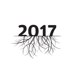 new year 2017 and black roots vector image
