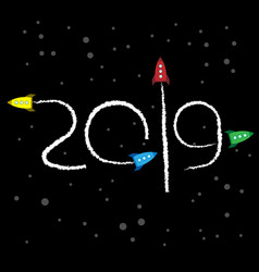 new year 2019 concept - space vector image