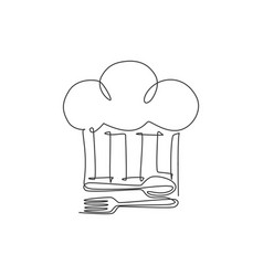 one continuous line drawing chef hat with fork vector image