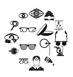 ophthalmologist tools icons set simple style vector image