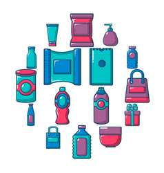 packagiong store shop icons set flat style vector image