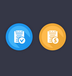 Payroll bill flat icons blue and yellow vector