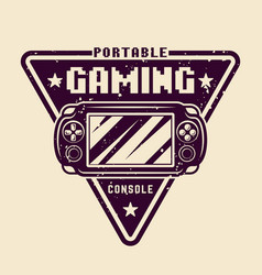 portable gaming console emblem vector image