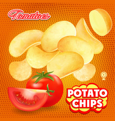 Potato chips with red tomato advertising vector
