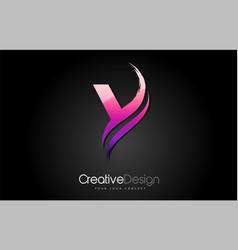 purple violet y letter design brush paint stroke vector image