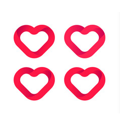 red hearts love icons set wedding logo vector image
