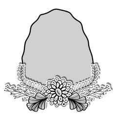 Rock and branches with leaves and flowers vector