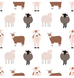 Seamless pattern with cute farm animals on white vector