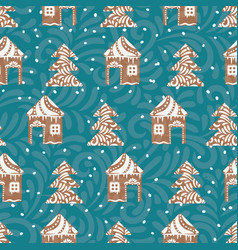Seamless pattern with gingerbread houses vector