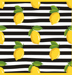 seamless summer pattern with lemons on black vector image