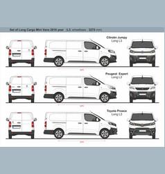 Set long l3 cargo mini vans 2016 vector