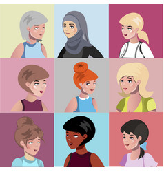 Set of different female characters vector