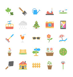 Set of park and garden flat icons vector