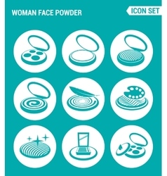 set of round icons white Woman face powder vector image