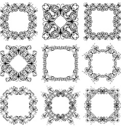 set of vintage frames of flowers and butterflies vector image