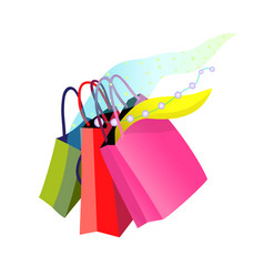 Shopping bags with purchase vector