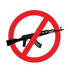 Sign no weapon kalashnikov assault rifle vector