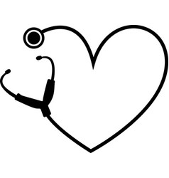 Simple heart stethoscope icon linear thin vector