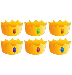 Six golden crowns vector image