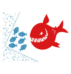 small fishes in a deadlock vector image