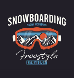 Snowboard glasses t-shirt with snowy mountain vector