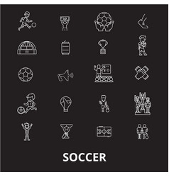 soccer editable line icons set on black vector image