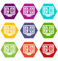 soccer scoreboard icon set color hexahedron vector image