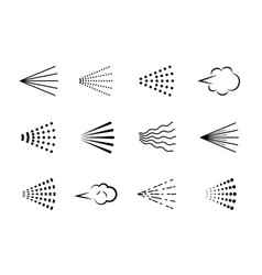 Spray icons scatter gas black silhouette nozzle vector